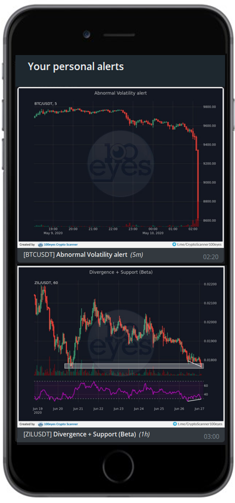 An example of the chat you will see once you sign up with the 100eyes crypto or forex scanner
