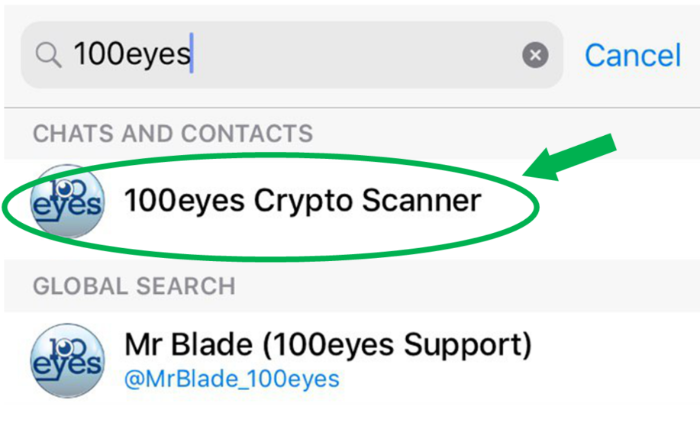 Search for 100eyes crypto scanner on Telegram