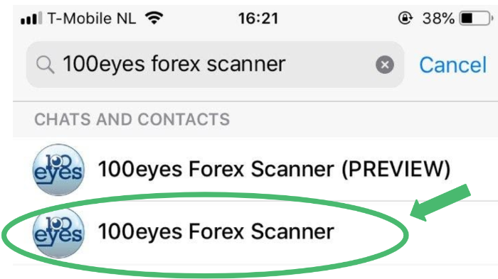 Search for 100eyes forex scanner on Telegram