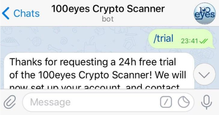 After starting your conversation with the crypto scanner, use /trial