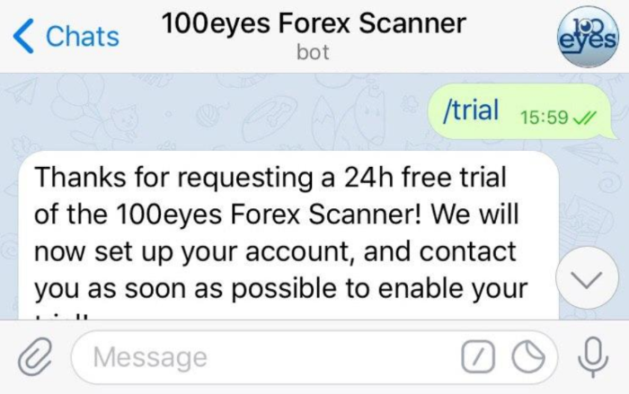 After starting your conversation with the forex scanner, use /trial